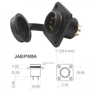 Conector p/ Painel JAB/PM8A com 8 contatos macho IP67