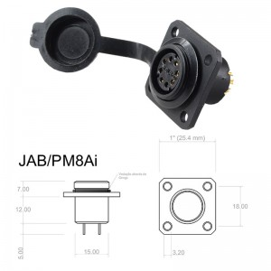 Conector p/ Painel JAB/PM8Ai com 8 contatos fêmea IP67