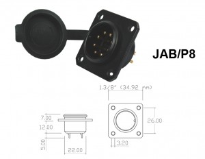 Conector p/ Painel JAB/P8 com 8 contatos macho