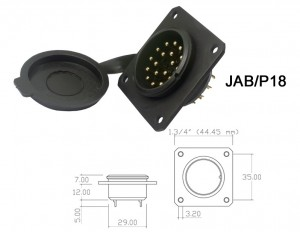 Conector p/ Painel JAB/P18 com 18 contatos macho