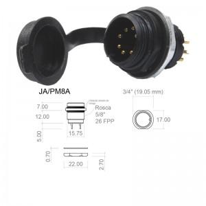 Conector p/ Painel JA/PM8A  com 8 contatos macho IP67