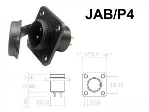 Conector Circular de Aluminio 2 a 4 contatos para painel JAB/P4